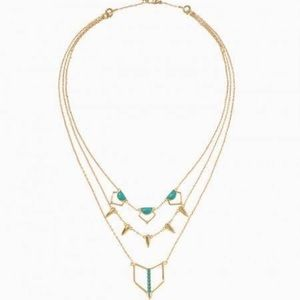 Stella & Dot reversible layered turquoise necklace